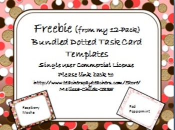 Free Task Card Template Dots and Dots