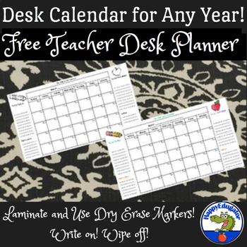 Free Teacher Desk Planner - Back to School Calendar