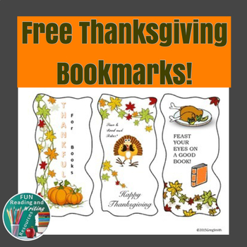 Free Thanksgiving Bookmarks