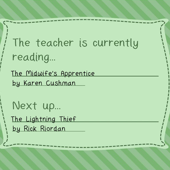 Free-The teacher is currently reading. Fully editable prin