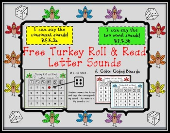 Free Turkey Roll and Read Letter Sounds
