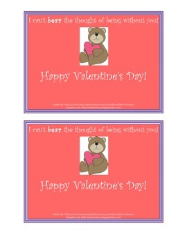 Valentine's Day Freebie! Cards - I Can't Bear the Thought