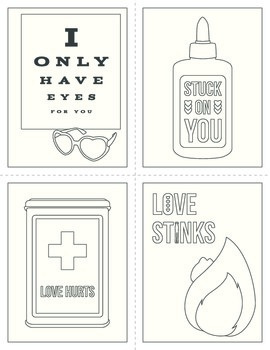 Free Valentine's Day Printable Postcards in Color and Blac