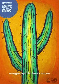 "Free Visual Arts Lesson: ""Cactus""  by Easy Peasy Art School"