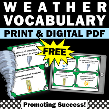 FREE Weather Vocabulary Task Cards Earth Science Centers G
