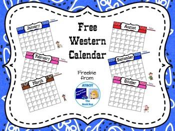 Free Western Calendar