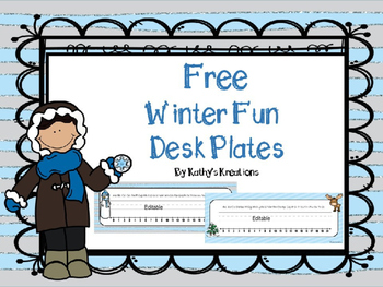 Free Winter Fun Desk Plates