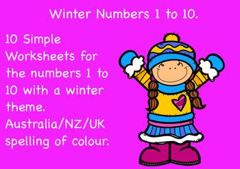 Free Winter Numbers 1 to 10 Worksheets.  Aus/NZ/UK spellin