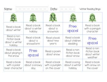 Free Winter Reading Bingo