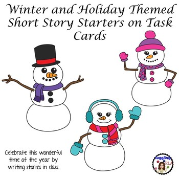 Free Winter and Holiday Themed Short Story Starters on Task Cards