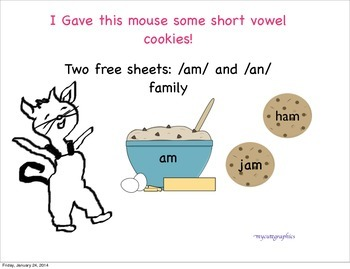 """Free 'am' and 'an' Family- Short Vowel """"Give a Mouse a Coo"""