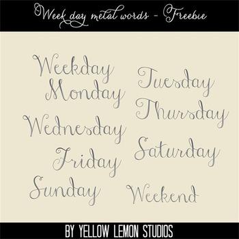 Free days of the week metal words