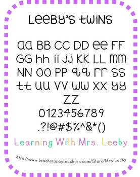 Free font for personal and commercial use - Leeby's Twins