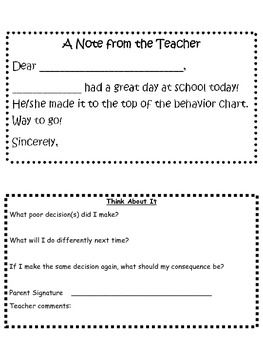 Free notes to be used with any behavior/clip chart