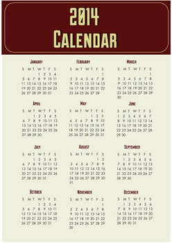 Free printable Calender poster 2014