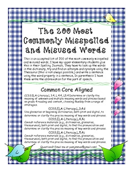 Printables 100 Most Commonly Spelt Words free200 spelling most commonly misspelled and by pam misused word
