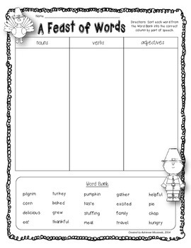 {Freebie!} A Feast of Words (parts of speech)