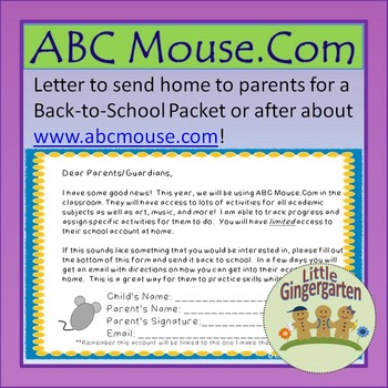 Freebie ABC Mouse Parent Internet Letter
