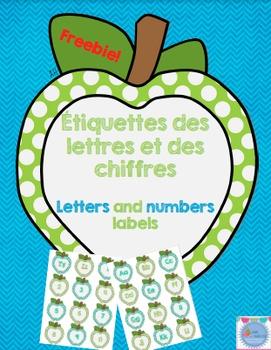 Freebie Apple letters and numbers labels/ Étiquettes des l