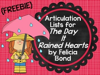 """{Freebie} Articulation Lists for """"The Day It Rained Hearts"""