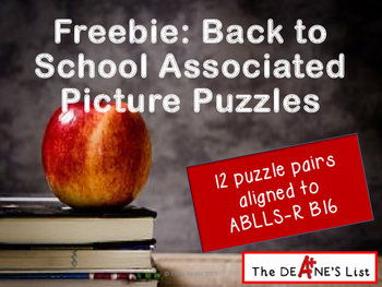 Freebie: Back to School Associated Picture Puzzles