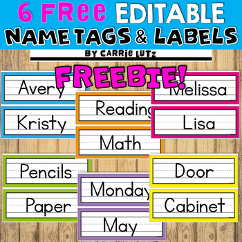 Freebie ~ Editable Bright, Colorful Name Tags