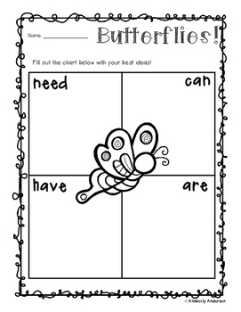"Freebie - Butterflies and Caterpillars: ""Needs - Can - Hav"