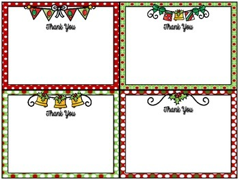Freebie!  Christmas Thank You Notes