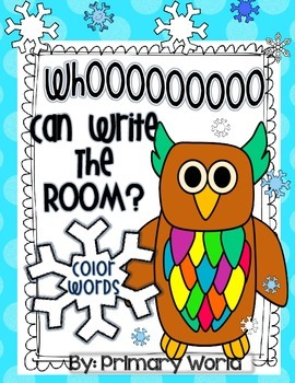 Freebie! Color Words-  Whoooo Can Write the Room?