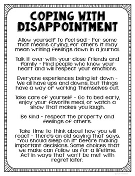 Freebie! Coping with Disappointment Poster, Handout, Couns