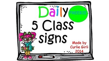 Freebie Daily 5 Class Signs