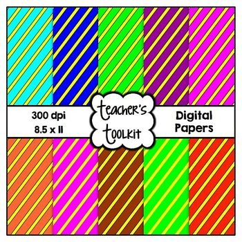{Freebie} Diagonal Stripes Digital Background Papers Clip