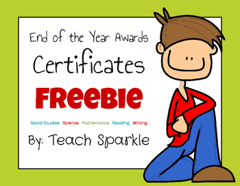 Freebie End of the Year Awards Certificates