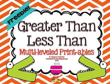 Freebie!! Greater Than Less Than Printable