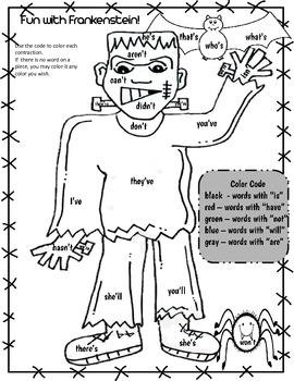 Freebie Halloween Color by Contraction Number Before and After