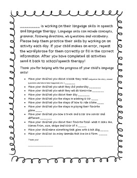 Freebie-Homework for Language Goals