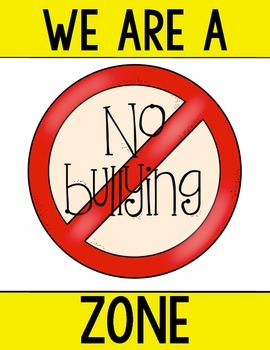 FREEBIE: No Bullying Poster for Kindergarten and First Grade