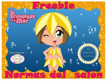 Freebie Normas del salón Motivo Princesas de mar