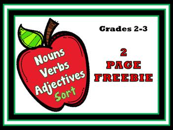 Freebie - Nouns, Verbs and Adjectives Sort - 2 Free Printa