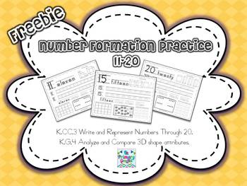 Freebie Number Formation Practice {11-20}