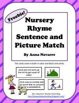 Freebie! Nursery Rhyme Sentence and Picture Match