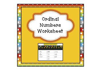 Freebie Ordinal Numbers Worksheet