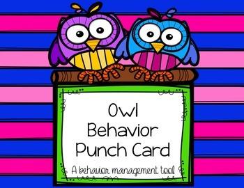 Freebie: Owl Behavior Management Punch Card