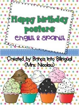 Freebie Posters: Birthdays - Cumpleaños in Engl and Span