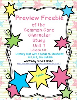 Freebie Preview of Character Study/Intro to Reading Worksh