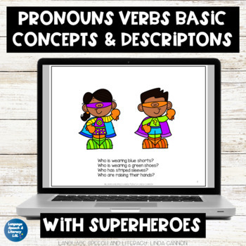 FREE - Pronouns, Concepts & Descriptions  With  Superheroe