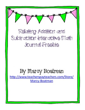 {Freebie} Relate Addition and Subtraction Interactive Jour