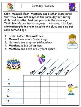 Freebie Sample Easy Logic Grid Puzzle