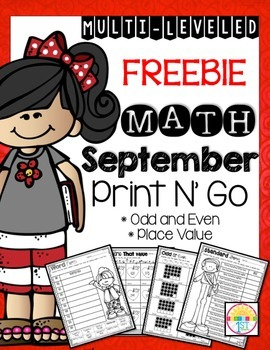 Freebie September Print N' Go Odd and Even Numbers/ Place Value