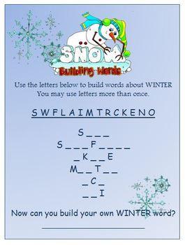 Freebie SnowFriends Building Words Worksheet(s) by Heather